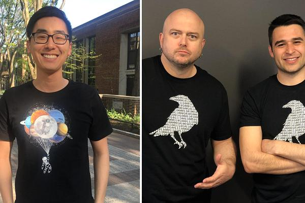 CryptoCrow.co's first customer James Sun (left) and CNBC's Bryce Churchill and Zack Guzman sport early designs from CryptoCrow.co.