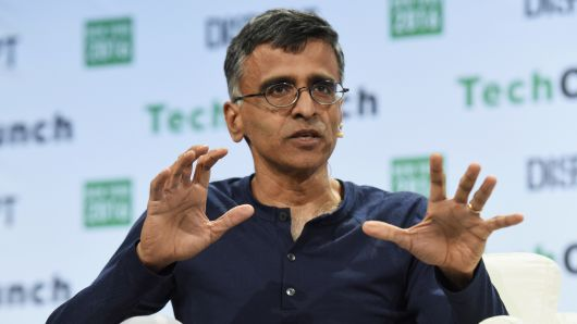 Sridhar Ramaswamy speaks onstage during a TechCrunch Disrupt NY event