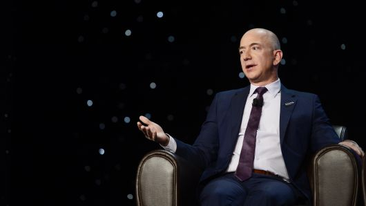 Founder of space company Blue Origin, Jeff Bezos, speaks about the future of commercial space travel.